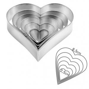 Wykrawaczki - formy metalowe Serca 6szt